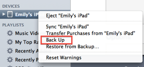 force ipad backup