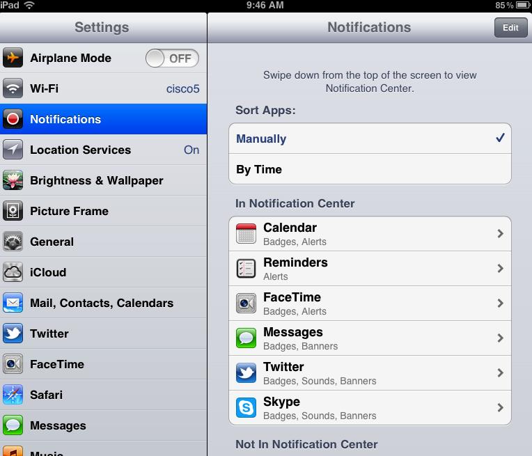 settings - notifications