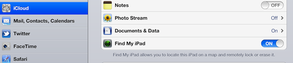 Setting Find My iPad
