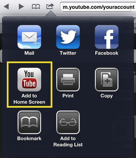 Safari share menu