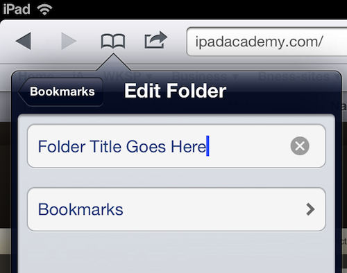 How to move bookmarks into folders in ipad