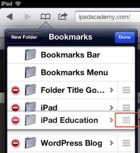 Safari bookmark folders arrange