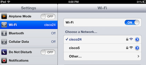 choosing an iPad wi-fi network
