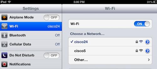 choosing an iPad wi-fi network