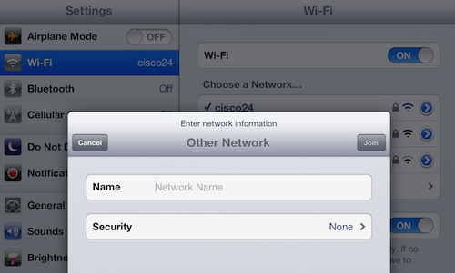 manually choose an iPad wi-fi network