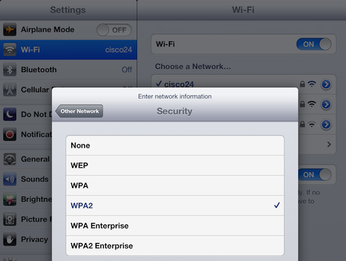 iPad wi-fi network options