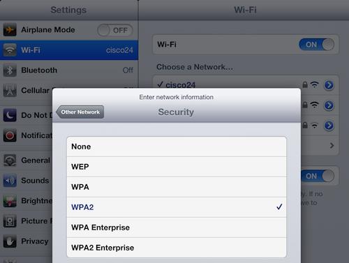 iPad wi-fi network options