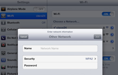 iPad wi-fi network security settings