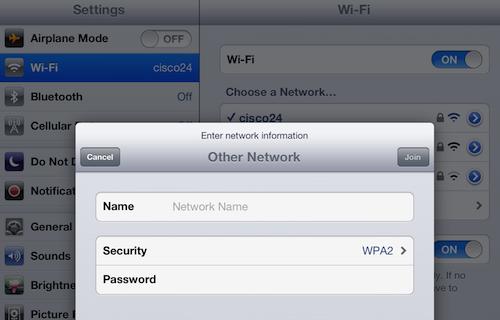 iPad wi-fi network security settings