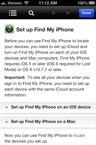 Find My iPhone help