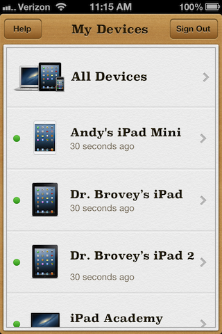 device list find my iPhone