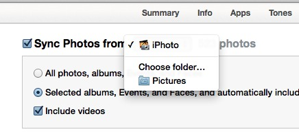iTunes 11 sync photos menu