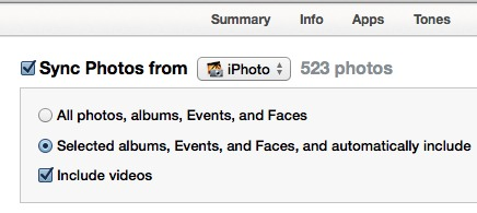 iTunes sync photos