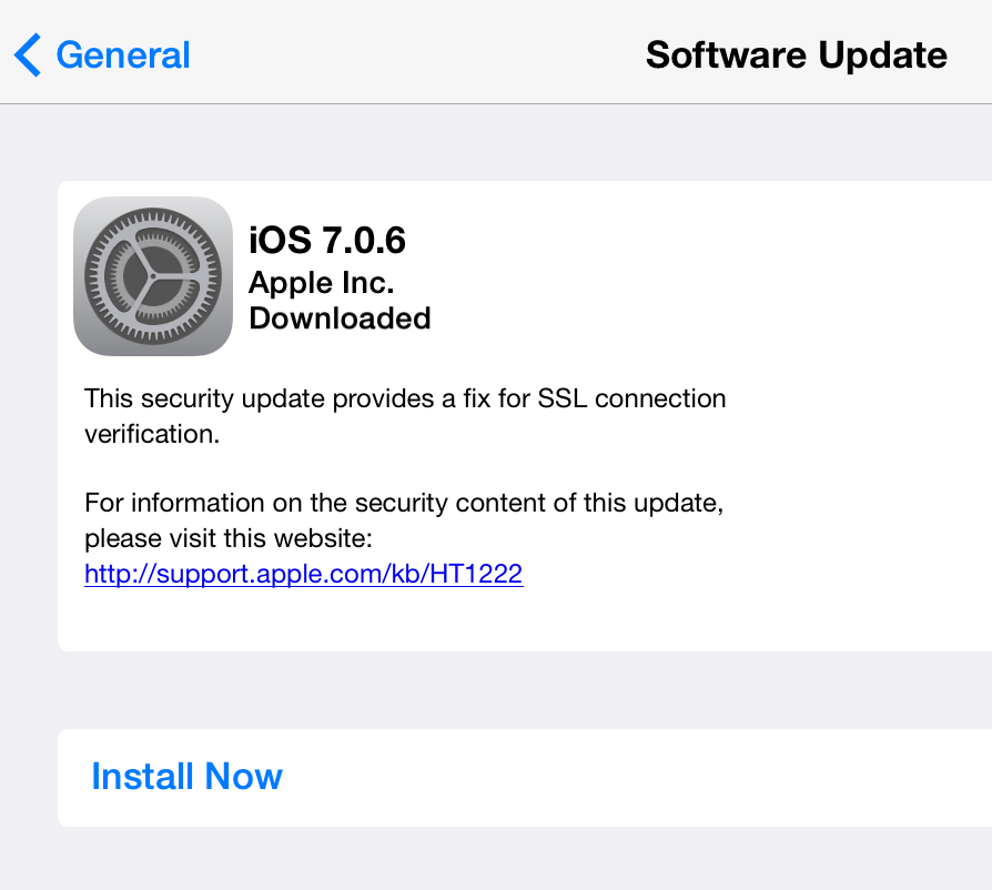 iPad iOS Security Update