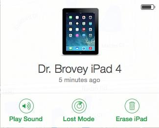 screenshot of find my iPad