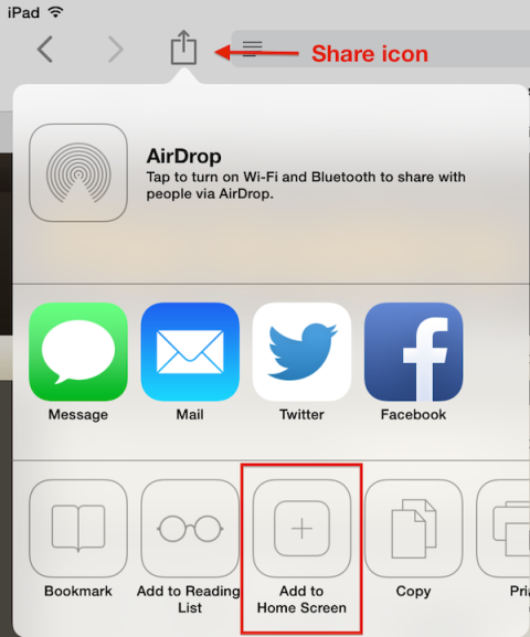 Safari web clip share button