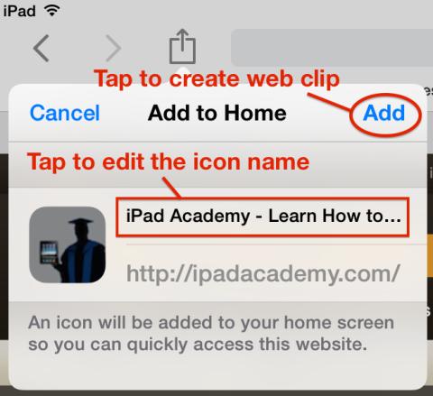 Add a web clip