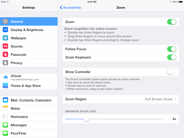 iPad zoom settings screen