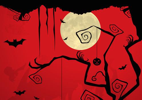 illustration of dark halloween night