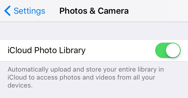 Photo Library setting